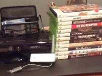 Jeux Xbox 360 + kinect + adapteur wifi