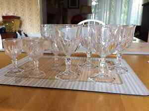 Crystal wine + liquor glasses rounded