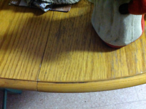 Solid wood table with insert