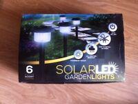 Box of 6 garden Solar powered LED lights - Never used