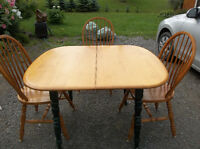 Solid wood table with three chairs perfect for student