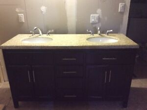 Washroom vanity with marble counter top