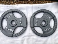 2 x 15kg Marcy Olympic Tri-Grip Cast Iron Weights