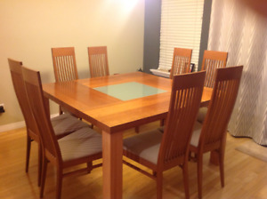 Kitchen (or could be dining) table and 8 chairs