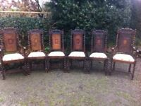 Set of six antique oak dining chairs