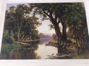 A Billabong of the Goulburn Victoria by HJ Johnstone Canvas Print Mornington Clarence Area Preview