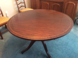 Marvelous Mahogany Antique (c1940) Table  Diameter 48""