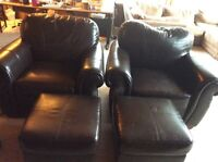 Free vinyl chair with ottomans and a real leather chair