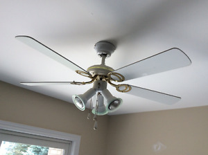 White five blade fan with light