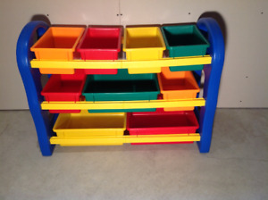 Children's toy-craft shelf, removable bins, easy to clean