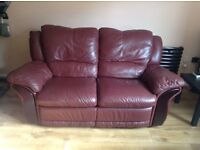 Wine real leather recliner sofa £75 Ono