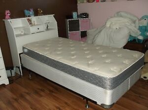 Twin Headboard, Mattress, Box Spring and Frame