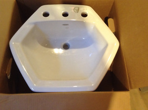 New Porcelain White Hexagon sink
