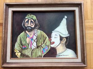 Sol et Gobelet framed painting signed