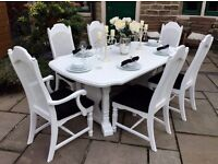 Extending White Dining Table & 6 Black Chairs ~ 2 Carvers ~ Vintage ~ Shabby Chic