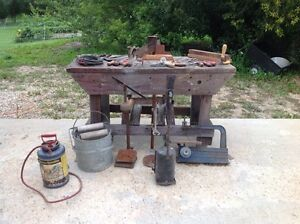 Antique tools and bench