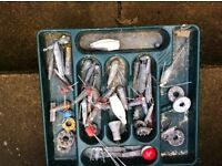Fishing box and over 40 lead weights
