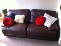 Large quality real leather electric reclining sofa