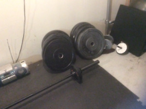 Rubber Bumper Plates and Bar $700 firm,