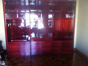 Lacquered Mohagony Wall unit (~9 feet )