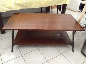 Vintage Pottery Barn solid wood and iron coffee table
