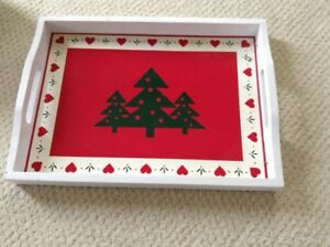 Christmas wooden tray and dinnerware
