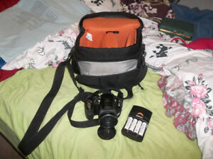 camera, camera bag, batteries and charger