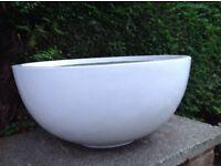 White fibreglass low bowl planter - slight damage to rim