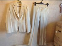 Bay ladies suit jacket & trousers beige size: 8 uesd £10