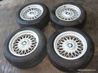 """BMW 16"""" Style 5 BBS RZ Alloy Wheels & Tyres E24 E28 E32 E34 E38 16x8j 5x120"""