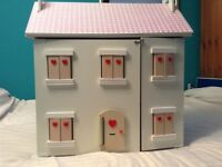 Beautifully Made Large Wooden Doll's House With Furniture And Family