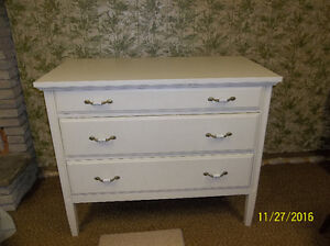 Antique Solid Mahogany Dresser Painted White