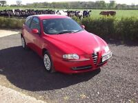 2004 Alfa Remeo 147 1.6 T spark red 3 door motd September 16 service history 2 keys