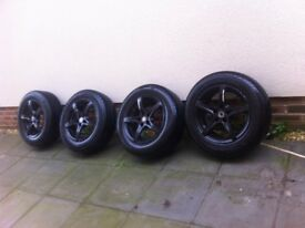 5x112 alloy wheels 4 newish tyres 100 quid