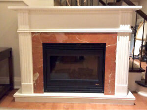 Electric Fireplace with Custom Wood Mantel