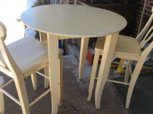 All Wood Pub Table And Two Chairs