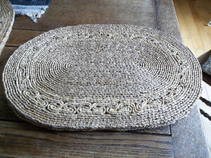 Six wicker placemats