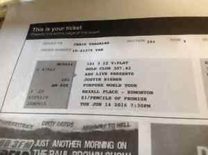 2 VIP Gold club tickets to Justin Bieber/SECTION 101/ROW 3!!!