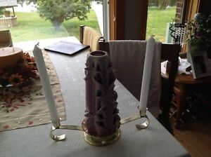 3 PIECE CANDLE SET HAND MOULDED CANDLE