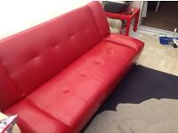 Red Leather Bed Settee ****As New****