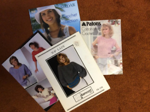 4 pattern books for lady's crocheted tops and vests