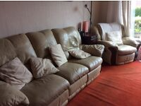 3 piece suite, leather, cream, recliner