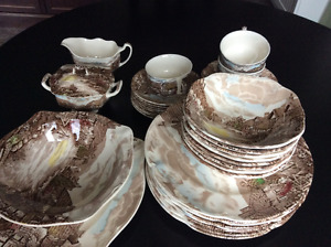 JOHNSON BROTHER Old English Countryside Brown Dishes $395.00