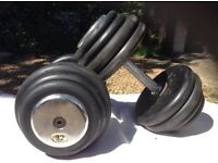 2 x 32kg Hudson Rubber Dumbbell Weights