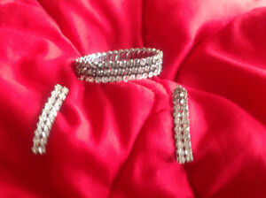 Vintage rhinestone bracelet and earrings