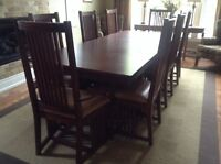 Hand crafted solid oak dining room table
