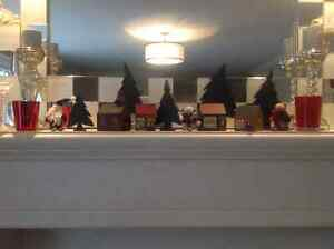 Wooden Christmas Village Hand Made Folk Art