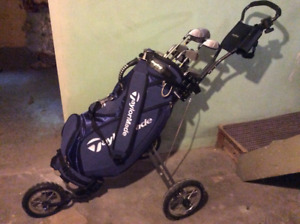 Ladies golf clubs, Taylormade bag and BagBoy cart