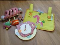 Lovely Mamas and Papas nursery clock, cot tidy and cot/car seat/pram toy.