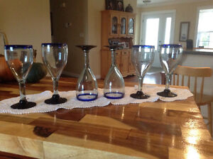 Six hand blown wine glass from Pier 1. Never used.